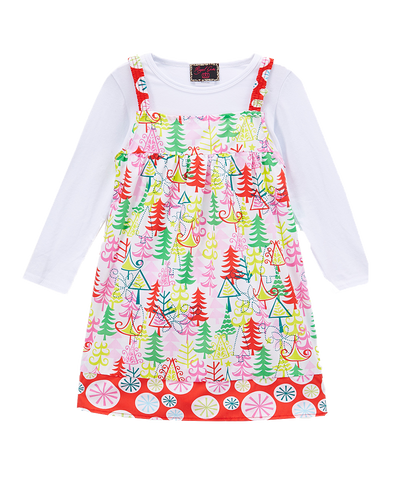 2pc Candy Cane Forest Christmas Winter Dress