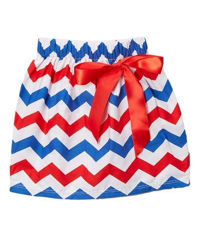Red & Blue Chevron Skirt