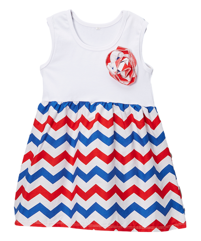 Red & Blue Chevron Pinwheel Dress