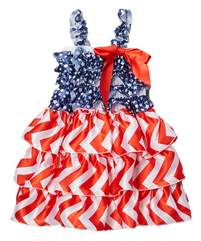 Ruffled Flag Satin Tiered Dress