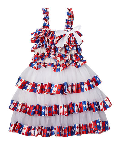 Stars & Stripes Satin & Chiffon Tiered Dress