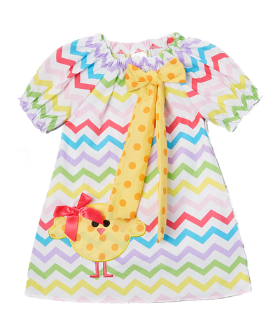 Easter Chick Chevron Cap Sleeve Shift Dress