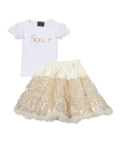 Sequin Gold Four 4 Birthday Pettiskirt & Top Tutu Set