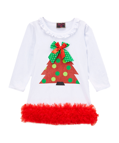 White Glitter Christmas Tree Ruffle Dress