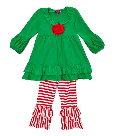 Red & Green Stripe Christmas Rosette Pant & Top Set