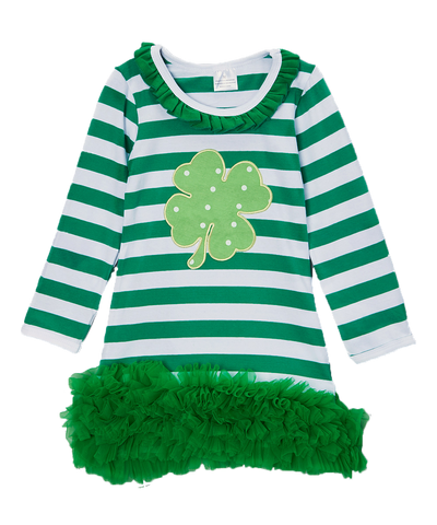 Green Shamrock Striped Ruffle Dress
