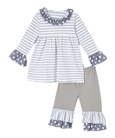 Grey & White Polka Dot Ruffle Pant & Top Set
