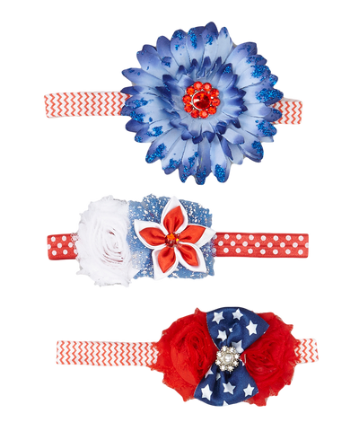 4th of July 3pc Floral Headband Set