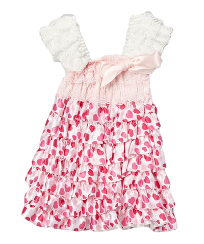 Pink Heart Lace & Satin Capsleeve Tiered Dress