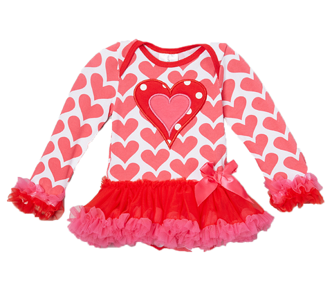 Pink & Red Hearts Skirted Bodysuit