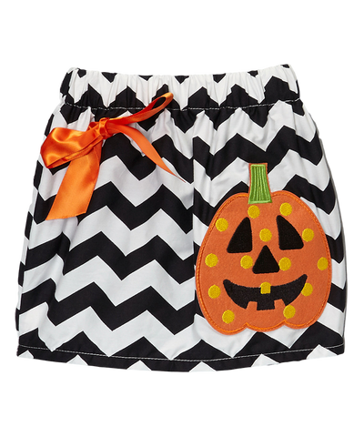 Black Chevron Jack o Lantern Halloween Skirt