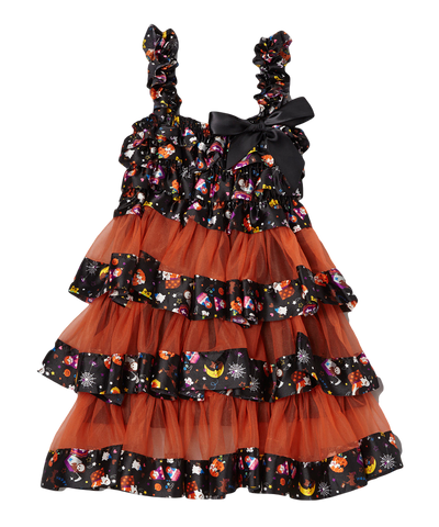 Orange Halloween Satin & Chiffon Tiered Dress