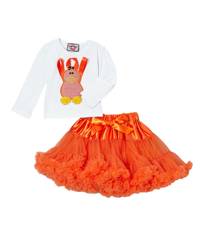 Orange Ribbon Turkey Top & Pettiskirt Set
