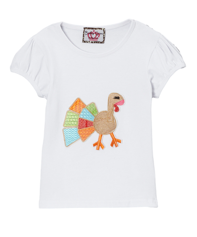 Rainbow Turkey Short Sleeve Ruffle Top