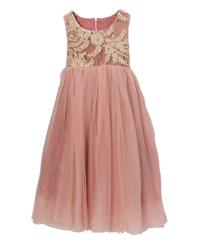 Mauve Glitter Chiffon Dress
