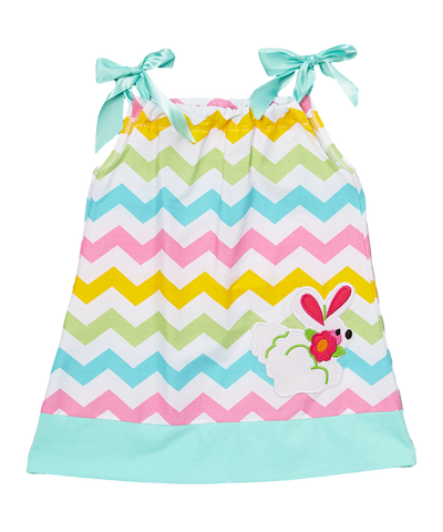 Pillowcase Rainbow Easter Bunny Chevron Dress