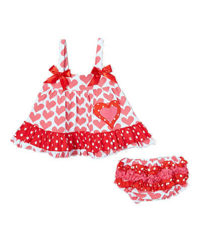 Pink & Red Heart Valentine's Swing Top & Diaper Cover Set