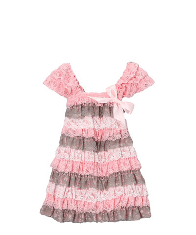 Pink & Grey Lace Capsleeve Tiered Flower Girls Dress