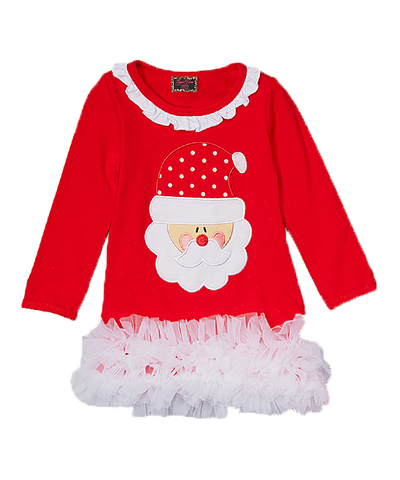 Red Santa Christmas Ruffle Dress