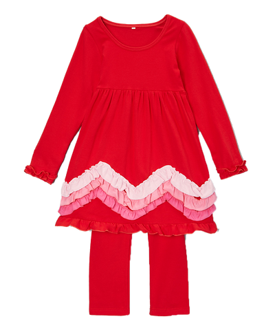 Red & Pink Valentine's Ruffle Pant & Top Set