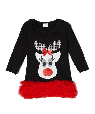Black Christmas Reindeer Ruffle Dress
