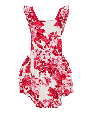 Pink and White Floral Bubble Romper
