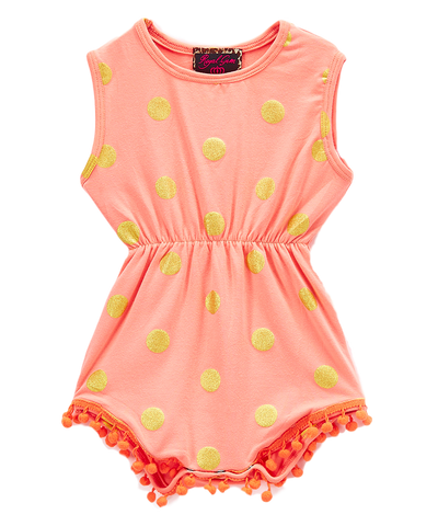 Coral and Gold Dot Pom-Pom Romper