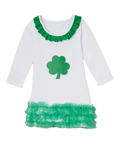 Green Shamrock Ruffle Dress