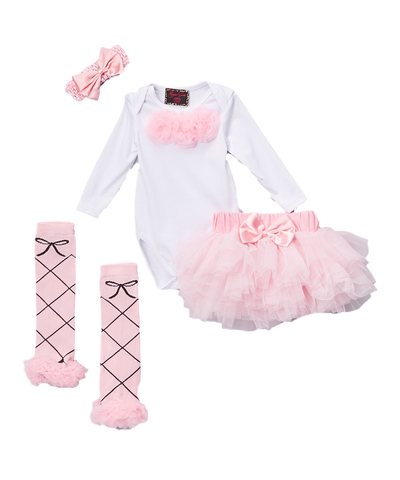 Pink Rosette Bodysuit Set Headband, Booties, & Warmers