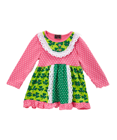 Pink and Green Shamrock Ruffle Dress