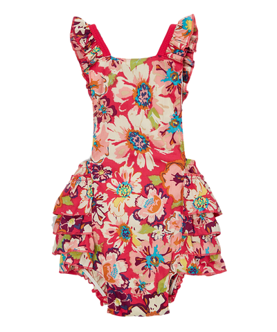 Red and Blue Rainbow Bubble Romper
