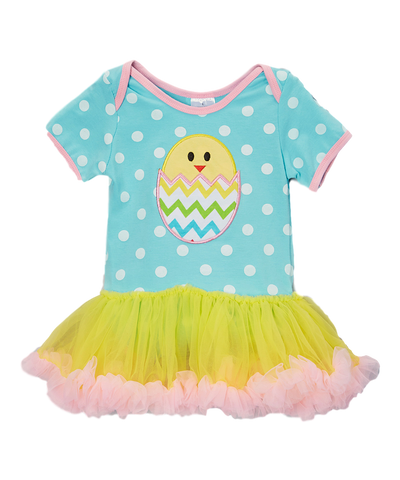 Light Blue and YellowChick Skirted Bodysuit