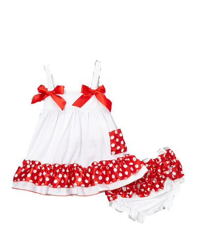 Red and White Swing Top & Diaper Cover Set