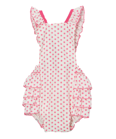 Pink and White Polka Dot Bubble Romper