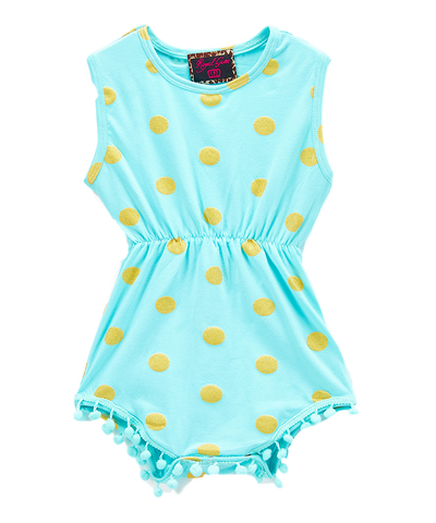 Mint and Gold Dot Pom-Pom Romper