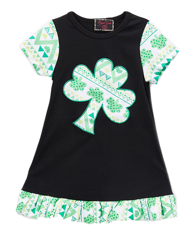 Black and Green Shamrock Ruffle Dress