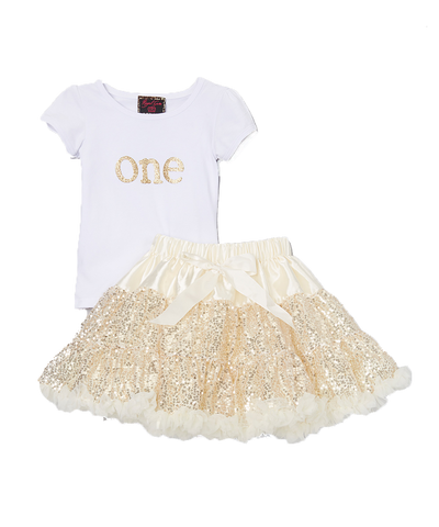 Sequin Gold One 1 Birthday Pettiskirt & Top Tutu Set