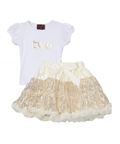 Sequin Gold Two 2 Birthday Pettiskirt & Top Tutu Set