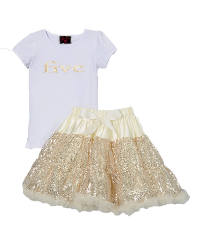 Sequin Gold Five 5 Birthday Pettiskirt & Top Tutu Set