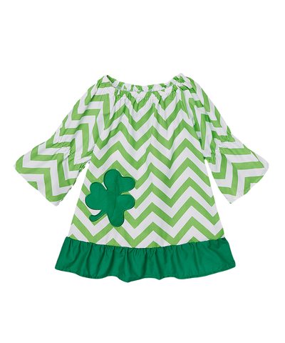 Green Shamrock Chevron Cap Sleeve Shift Dress