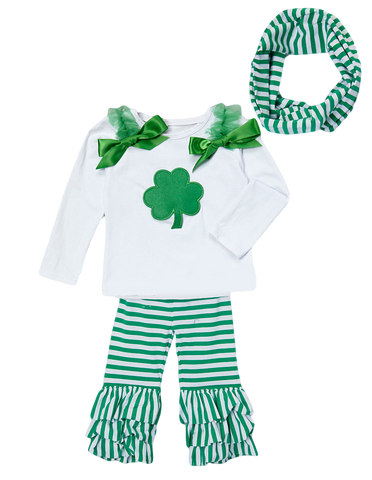 Green Shamrock Striped Pant & Top Set with Infinity Scarf