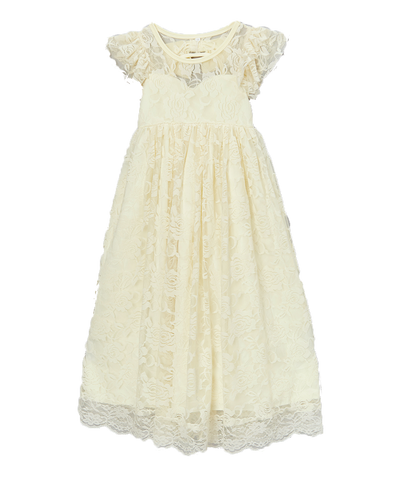 Short Sleeve Ruffle Ivory Lace Dress