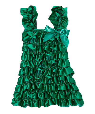 Green Satin Capsleeve Tiered Dress