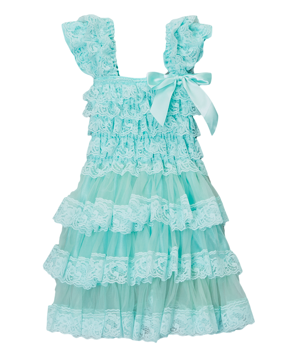Teal Lace Satin Capsleeve Tiered Dress