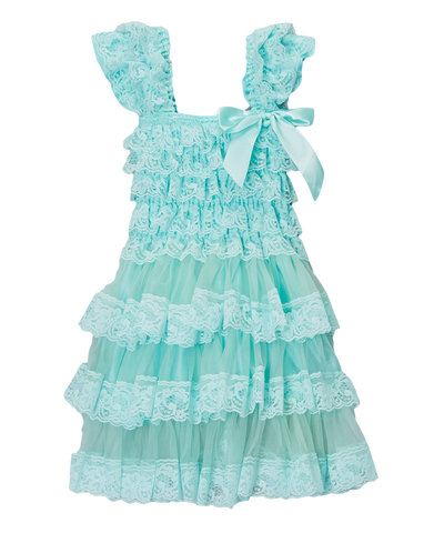 Teal Lace & Satin Capsleeve Tiered Dress