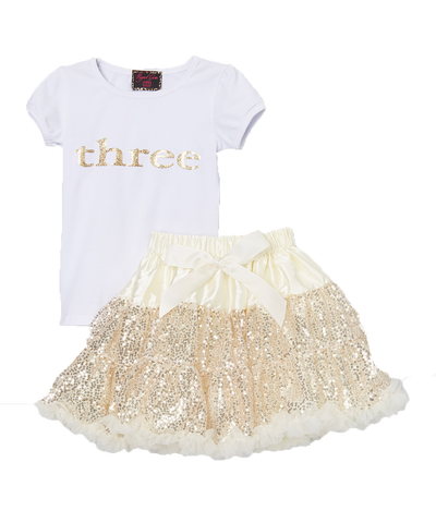 Sequin Gold Three 3 Birthday Pettiskirt & Top Tutu Set