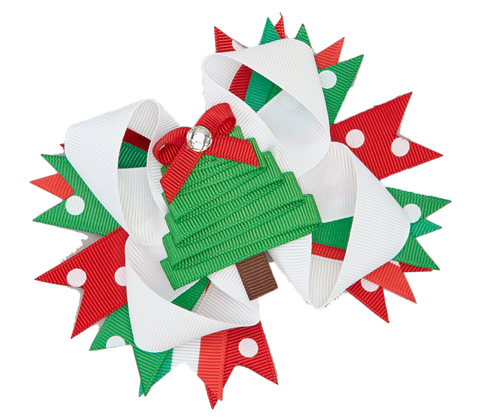Red & Green Christmas Tree Boutique Bow