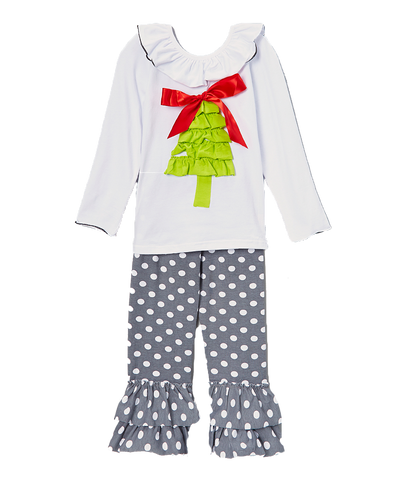 Grey Dot Christmas Tree Pant & Top Multi Print Set
