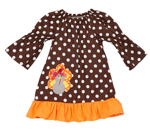 Brown Polka Dot Turkey Bow Shift Dress