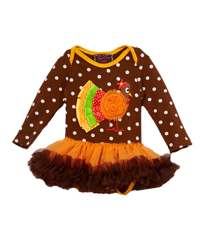 Brown Turkey Polka Dot Skirted Bodysuit